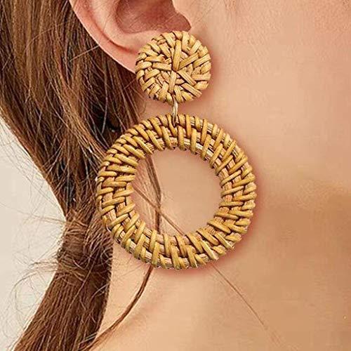 Little Story Rattan Earrings for Women Handmade Straw Wicker Braid Drop Dangle Earrings