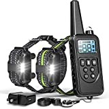 Dog Training Collar with Remote, Range 865 Yards Shock Collar for Large Medium Small Dogs with 4 Modes Light Beep Vibration Shock, 2018 Upgraded Waterproof and Rechargeable Dog Shock Collar for 2 dogs