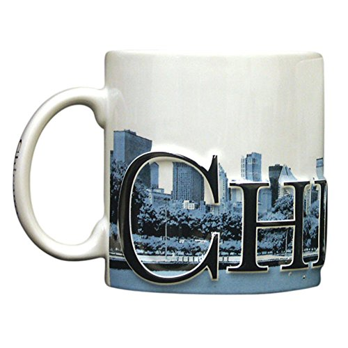 (Americaware Chicago Duo Color Relief 18oz City Skyline Mug. 6 Inches Long By 4.25 Inches Tall By 4 Inches in)