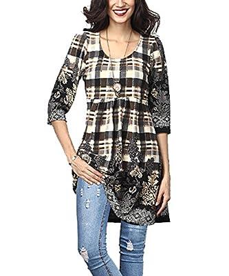 NuoReel Women's 3/4 Long Sleeve Plaid Paisley Empire-Waist Tunic Casual Shirt Top Blouse