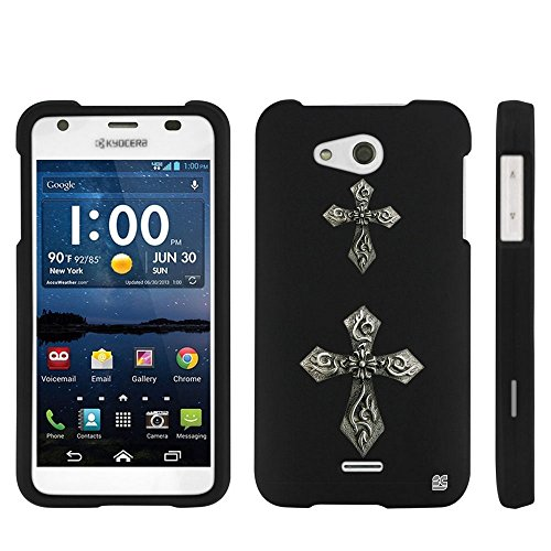 - Beyond Cell ®Kyocera Hydro Wave C6740(Cricket,Tmobile,Metro PCS)Premium Protection Slim Light Weight 2 piece Snap On Non-Slip Matte Hard Rubberized Phone Case - Cross Gothic Design