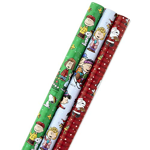 Hallmark Christmas Peanuts Wrapping Paper with Cut Lines on Reverse (Pack of 3, 105 sq. ft. ttl) Snoopy, Charlie Brown, Woodstock (Mouse Christmas Paper Wrapping Mickey)