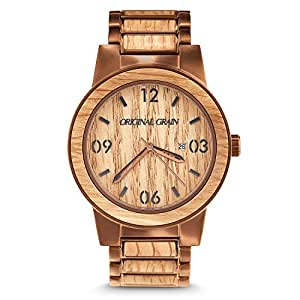 Original Grain Wood Wrist Watch | Barrel Collection 47MM Analog Watch | Wood And Stainless Steel Watch Band | Japanese Quartz Movement | Whiskey Barrel Wood