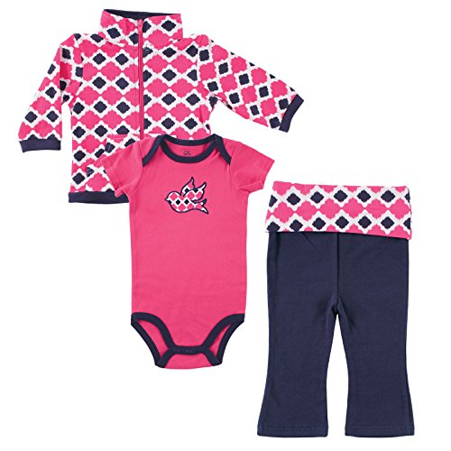 Yoga Sprout Infant 3 Piece Jacket, Top and Pant Set, Girl Bird, 9-12 Months
