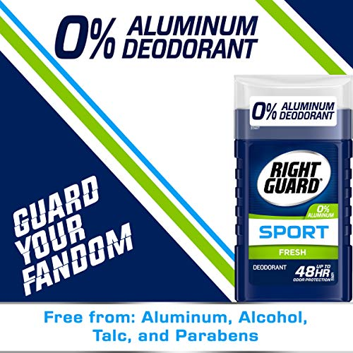 Right Guard Sport Aluminum-Free Deodorant Invisible Solid Stick, Fresh, 3 Ounce (Pack of 4)