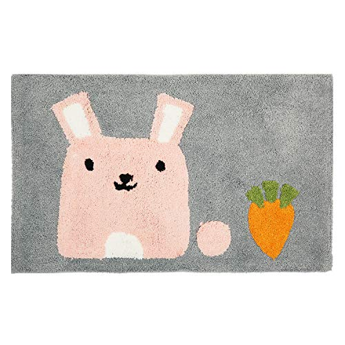 Hi Space Non Slip Kids Bath Mat,Soft Shag Cute Rabbit Bath Rug for Bathroom,Machine Washable Water Absorbent Microfiber - Crochet Rabbit