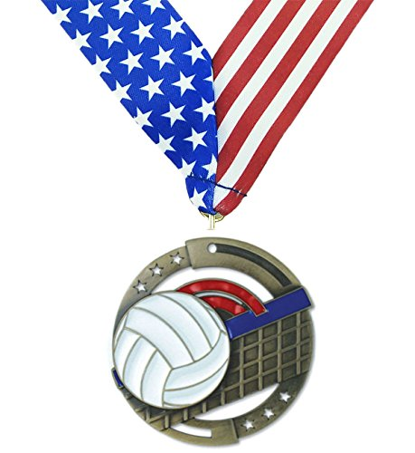 Gold Volleyball M3XL Premium Die Cast Color Medal - 2.75 Inches Wide - Includes Decade Awards Exclusive Red, White & Blue Stars and Stripes V-neck Ribbon - Neckband