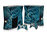 Vinyl Decal Protective Sticker Skin for Microsoft Xbox 360 Slim and 2 Controllers Skins-Blue Dragon Animal