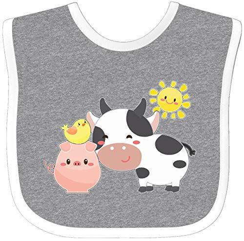 Inktastic - Fun Farm Animals- cow, pig, chick Baby Bib Heather/White 2fbcb