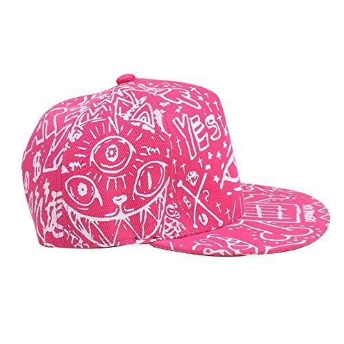 [YIWULA Fashion Vintage Baseball Flat Bill Hat (Pink)] (Hip Hop Felt Hat With Feather)