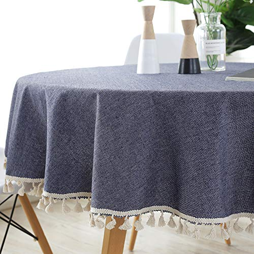 ColorBird Solid Color Tassel Tablecloth Cotton Linen Dust-Proof Table Cover for Kitchen Dinning Tabletop Decoration (Round, 60 Inch, Navy) ()