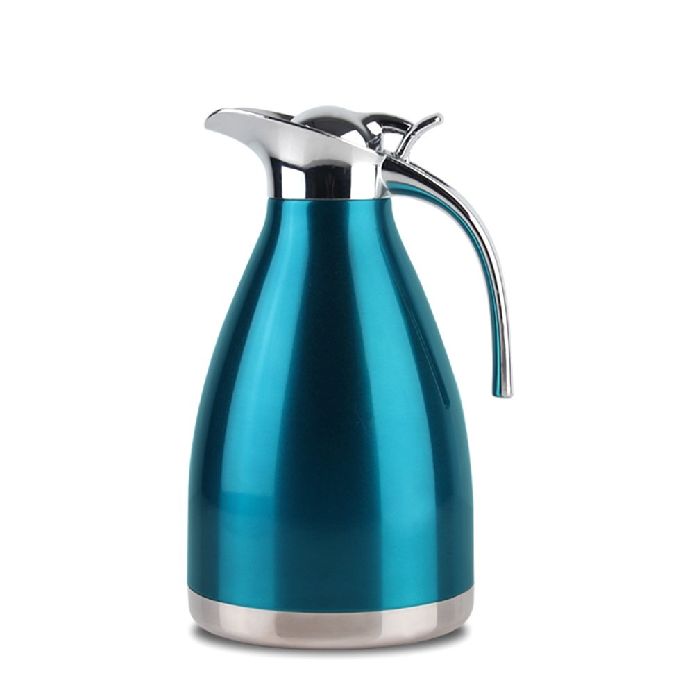 EgoEra® Stainless Steel Double Walled Vacuum Insulated Jug,Tea Water Coffee Jug/Insulation Pot/Cafetiere Jug/Water Pitcher with Lid Handle, Blue, 1L E-TOP