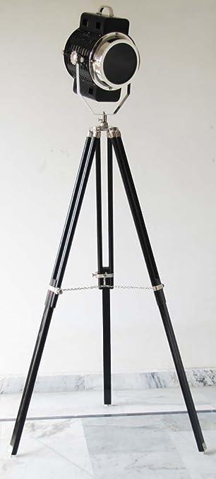 Searchlight náuticas lámparas de pie foco de colección búsqueda luz lámpara de pie soporte de trípode Negro: Amazon.es: Bricolaje y herramientas