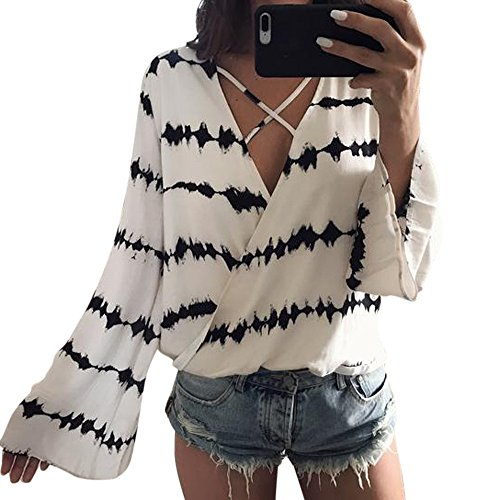 Wobuoke Women Loose V Neck Bandage Long Sleeve Shirt Stripe Tops Overlapping Chiffon Casual Blouse -