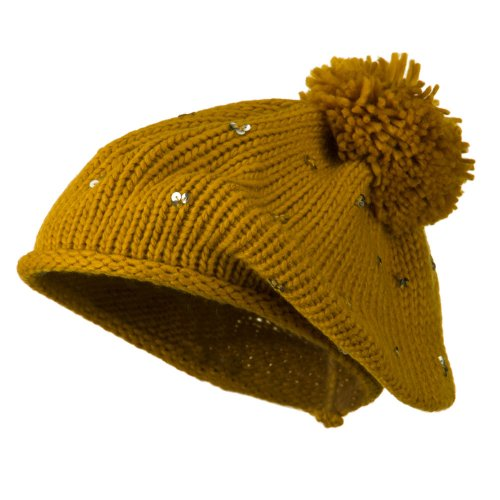 (Knit Beret with Sequin and Tassel - Mustard OSFM)