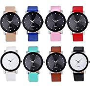 Noopvan New Fashion Casual Men Watches,Sport Military Stainless Steel Dial Leather Band Watch