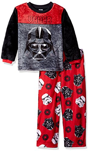 Star Wars Big Boys' 2-Piece Fleece Pajama Set, Red, 10