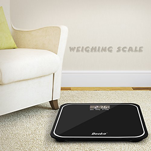 Becko Wireless Digital Body Weight Scale by Balance, Body Weight Measurements From 2.5KG To 180KG, Glass Top, with Large Backlit Display