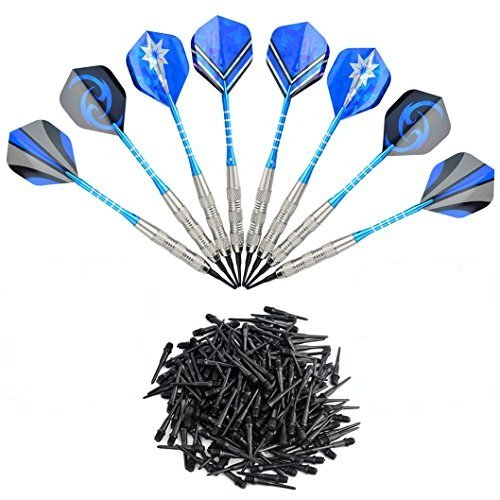 Wobe 12pcs 18g Soft Dart with 16 Dart Flights and 200 Dart Soft Tip Points, Electronic Darts Set for Bar Game Darts Target, Safety Kids Darts for Dartsboard Blue by Wobe