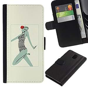 WINCASE Cuadro Funda Voltear Cuero Ranura Tarjetas TPU Carcasas Protectora Cover Case Para Samsung Galaxy Note 3 III - hermosa mujer con clase de dibujo