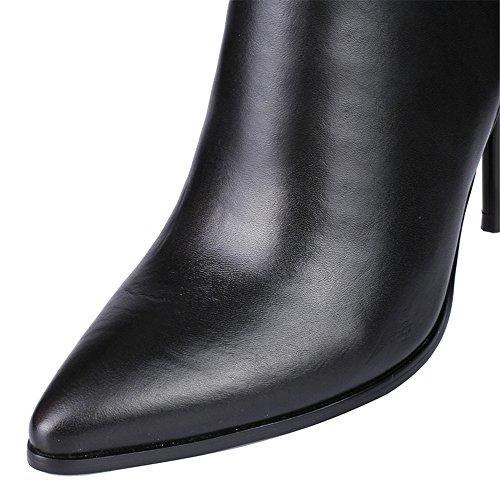Nine Seven Cuero Moda Puntiagudos Botas Largas Negro de Tacón de Aguja con Cremallera de Invierno para Mujer negro