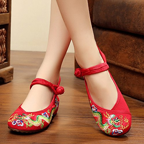 Avacostume Chino Tradicional Dragon Bordado Pisos Cheongsam Zapatos Rojo