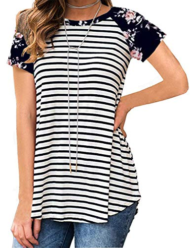 Womens Cute Tops Short Sleeve Casual Striped White M