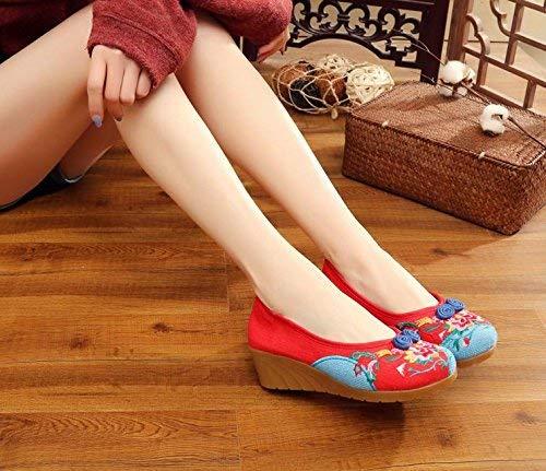 HhGold Bestickte Schuhe Sehnensohle Ethno-Stil weibliche Stoffschuhe Stoffschuhe Stoffschuhe Mode bequem Tanzschuhe rot 38 (Farbe   - Größe   -) b11082