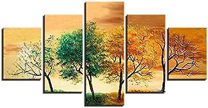 SDALD Impresión de Lienzo 5 Pieza 200x100CM Lienzo de pintura moderna 5 paneles Paisaje de árbol de cuatro estaciones lienzo impreso cuadro Modular para arte de pared, decoración del hogar para sala d