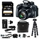 Canon PowerShot SX60 HS 16.1MP Digital Camera with 65x Optical Zoom and WiFi + 64GB Card + Camera Bag + Battery and Charger + Tripod + Card Wallet + Wrist Strap + Cleaning Kit + Accessory Bundle
