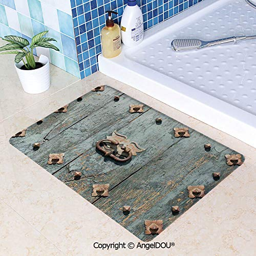 - SCOXIXI Durable Printed Soft Kitchen Dining Room Floor Mat European Cathedral with Rusty Old Door Knocker Gothic Medieval Times Spanish Style Decorative Decorate Non-Slip Bathroom W31.5xL47.2(inch)