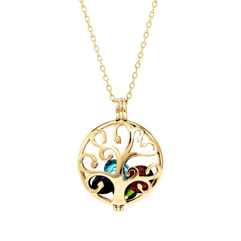 Gold Plated Personalized 6mm Round Simulated Birthstone Family Tree Caged Locket (16'' chain)