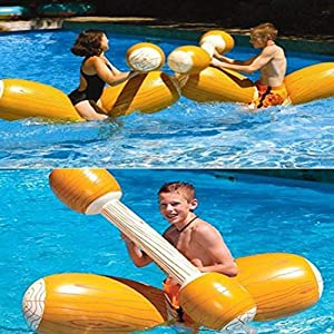 xinnio 4pc Water Entertainment Game Toy Inflatable Float Raft Chair Stick Swim Ring Pool Rafts & Inflatable Ride-ons from xinnio