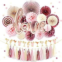 NICROLANDEE Rose Gold Bridal Shower Decorations Pack Love Foil Balloon Banner Maroon Hanging Party Fans Dusty Rose Tissue Paper Flowers Poms Glitter Champagne Glasses Garland Tassel Wedding Birthday