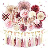 NICROLANDEE Rose Gold Bridal Shower Decorations Pack Love Foil Balloon Banner Maroon Hanging Party Fans Dusty Rose Tissue Paper Flowers Poms Glitter Champagne Glasses Garland Tassel Wedding Valentines