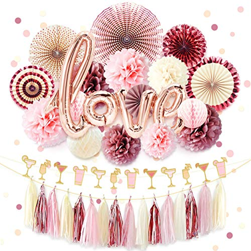 (NICROLANDEE Rose Gold Bridal Shower Decorations Love Foil Balloon Banner Hanging Party Fans Dusty Rose Tissue Paper Flowers Poms Glitter Champagne Glasses Garland Tassel Wedding Valentines Day)