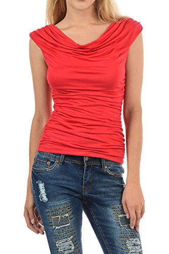 Cowl Collar Tunic - Auliné Collection Womens Career Solid Color Ruched Cowl Neck Casual Blouse Top Red Small