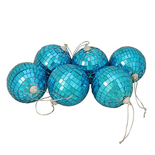 Northlight 6ct Peacock Blue Mirrored Glass Disco Ball Christmas Ornaments 3.25