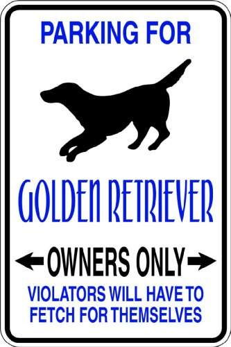 Top Selling Decals - Prices Reduced : Parking For Golden Retriever -Parking Signs - Picture Art - Size : 9 Inches X 18 Inches - Vinyl Wall Sticker - 22 Colors Available