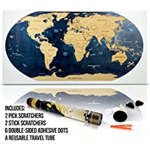 Travel Scratch Off World Map - World Globe Design (32 x 17.5 Inch) Scratchable Golden Top Coat + Scratchers & Adhesive Dots in a Reusable Travel Tube by Jacs