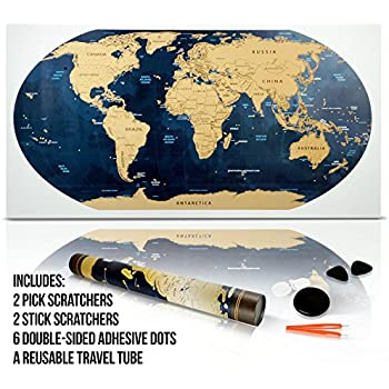 Scratch The Map Poster w/ Detailed (32 x 17.5 Inch) World Globe Design - Scratchable Golden Top Coat + Scratchers & Adhesive Dots in a Reusable Travel Tube by Jacs