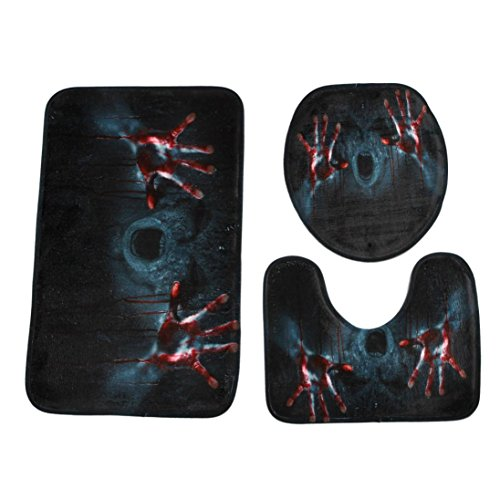 Muranba Happy Halloween HalStyle Pedestal Rug + Lid Toilet Cover + Bath Mat 3PC/Set (Guirnalda Decoracion Halloween)