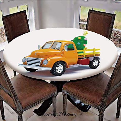 Elastic Edged Polyester Fitted Table Cover,Yellow Vintage Truck and Decorated Tree with Star Topper Old Farm Motor,Fits up 40
