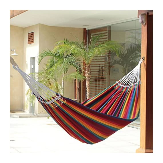 """NOVICA Multicolor Rainbow Striped Cotton Fabric 2 Person Brazilian Hammock, 'Brazilian Rainbow' (Double) - Size: 144.1"""" L x 66.1"""" W Authentic: an original NOVICA fair trade product in association with National Geographic. Certified: comes with an official NOVICA Story Card certifying quality & authenticity. - patio-furniture, patio, hammocks - 51jTX3cXojL. SS570  -"""