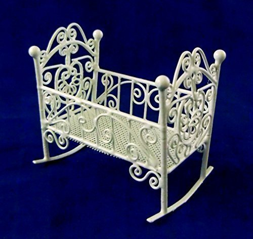 Vanity Fair Dolls House 1:12 Nursery Furniture White Wire Wrought Iron Rocking Cot Cradle