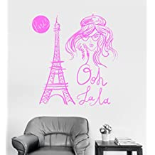 Large Vinyl Wall Decal Eiffel Tower Paris French Fashion Girl Room Stickers (ig3294) Pink