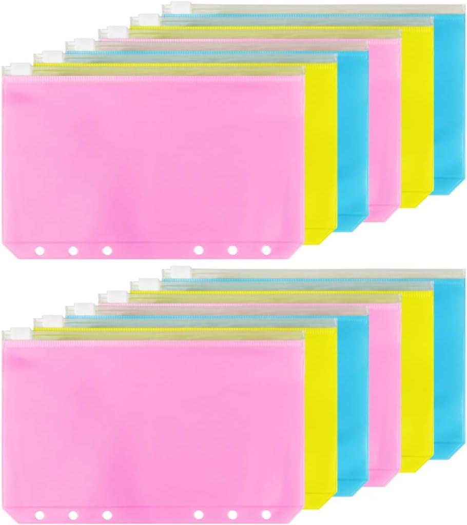 HAUTOCO 30PCS A6 6-Holes Binder Pockets Waterproof PVC Cash Budget Envelopes Zipper Binder Pouches for A6 Notebook Binders