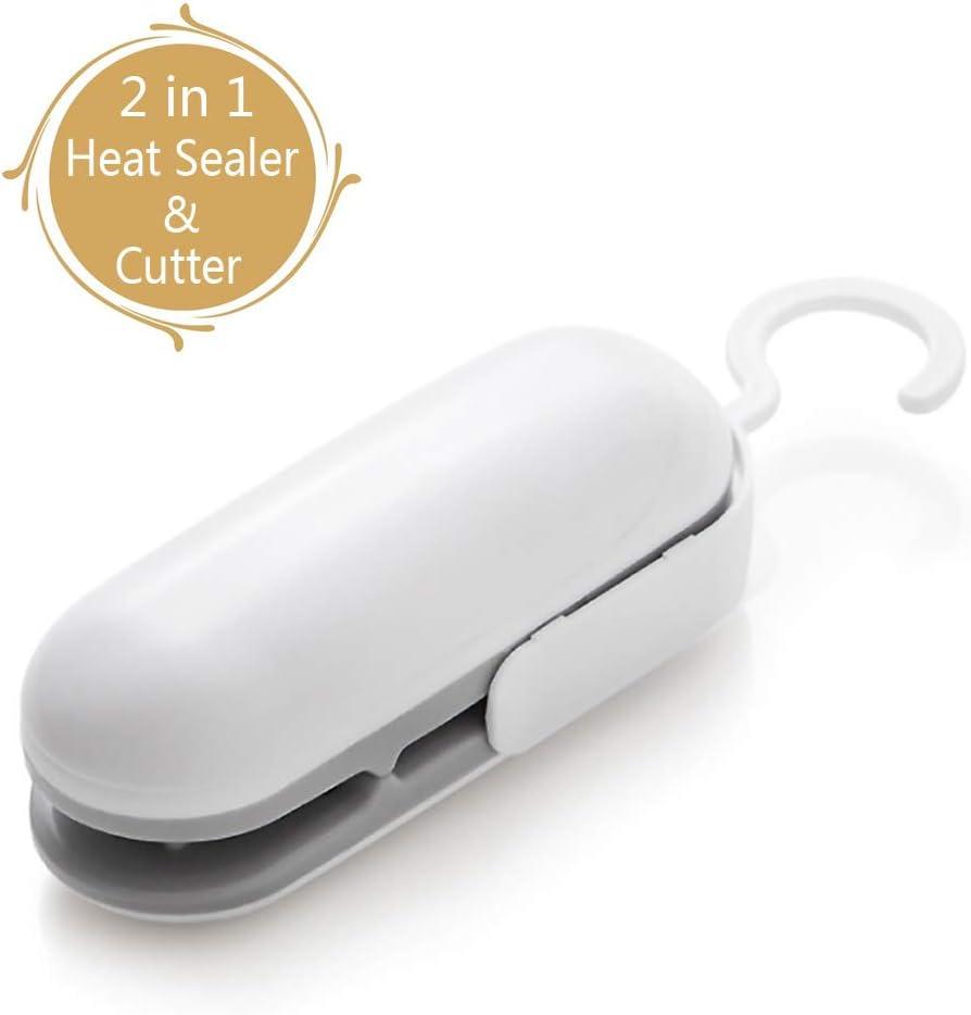Mini Bag Sealer, Mini Sealer for Plastic Bags, Hand-held Mini Heat Bag Sealer,2 in 1 Heat Sealer and Cutter, Portable Bag Re-sealer Sealer, Quick Seal for Plastic Bags Food Storage Snack Fresh Bag Sealer (Battery Not Included)