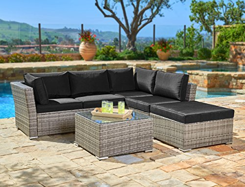Suncrown Outdoor Furniture Sectional Sofa (4-Piece Set) All-Weather Grey Checkered Wicker with Black Washable Seat Cushions & Glass Coffee Table | Patio, Backyard, Pool | Waterproof Cover & Clips (Sectional Cocktail)