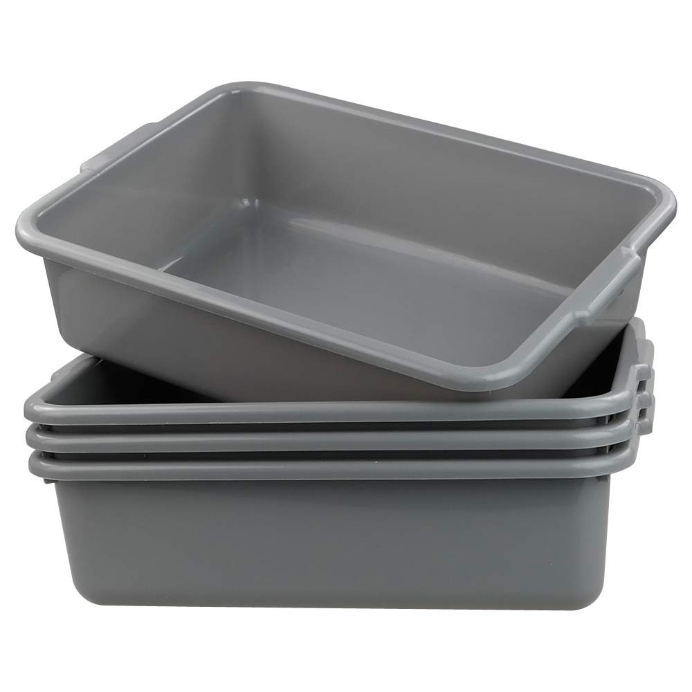 Cand Grey Commercial Bus Tubs, 13 L Plastic Bus Box/Wash Basin, 4 Packs